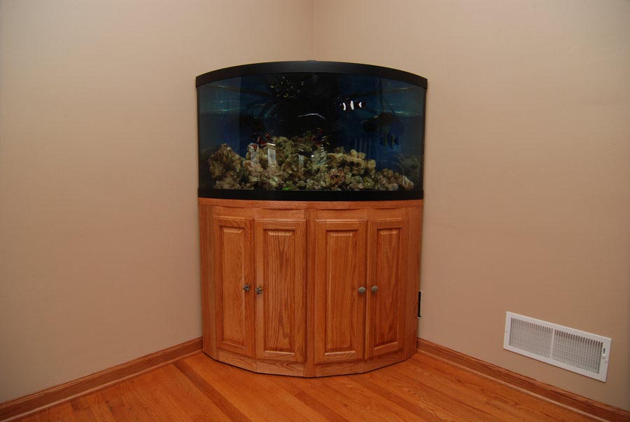 Corner fish aquariums with stands aquarium design ideas for Corner fish tank for sale