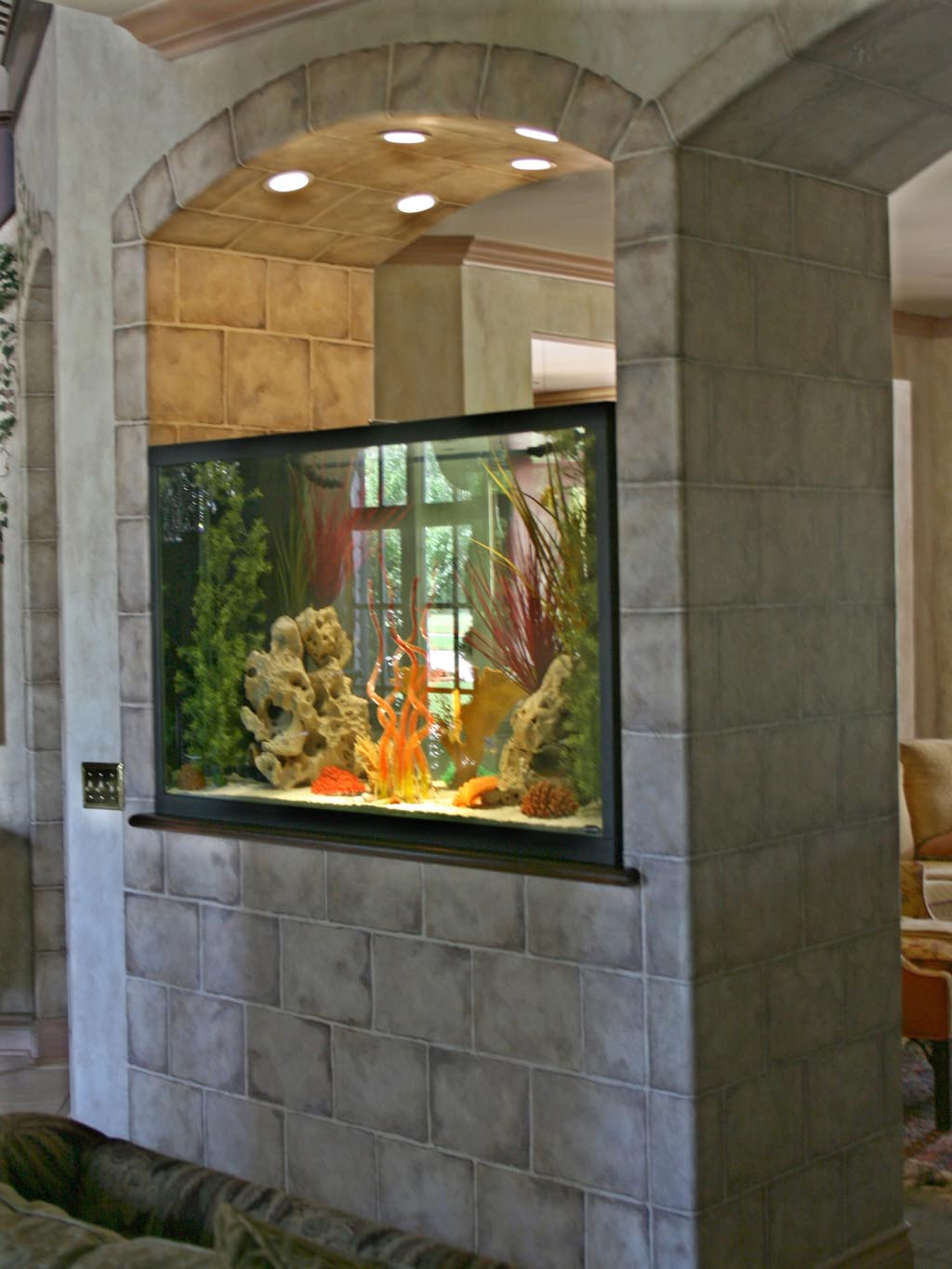 Custom saltwater aquarium stands aquarium design ideas for Fish tank built into wall