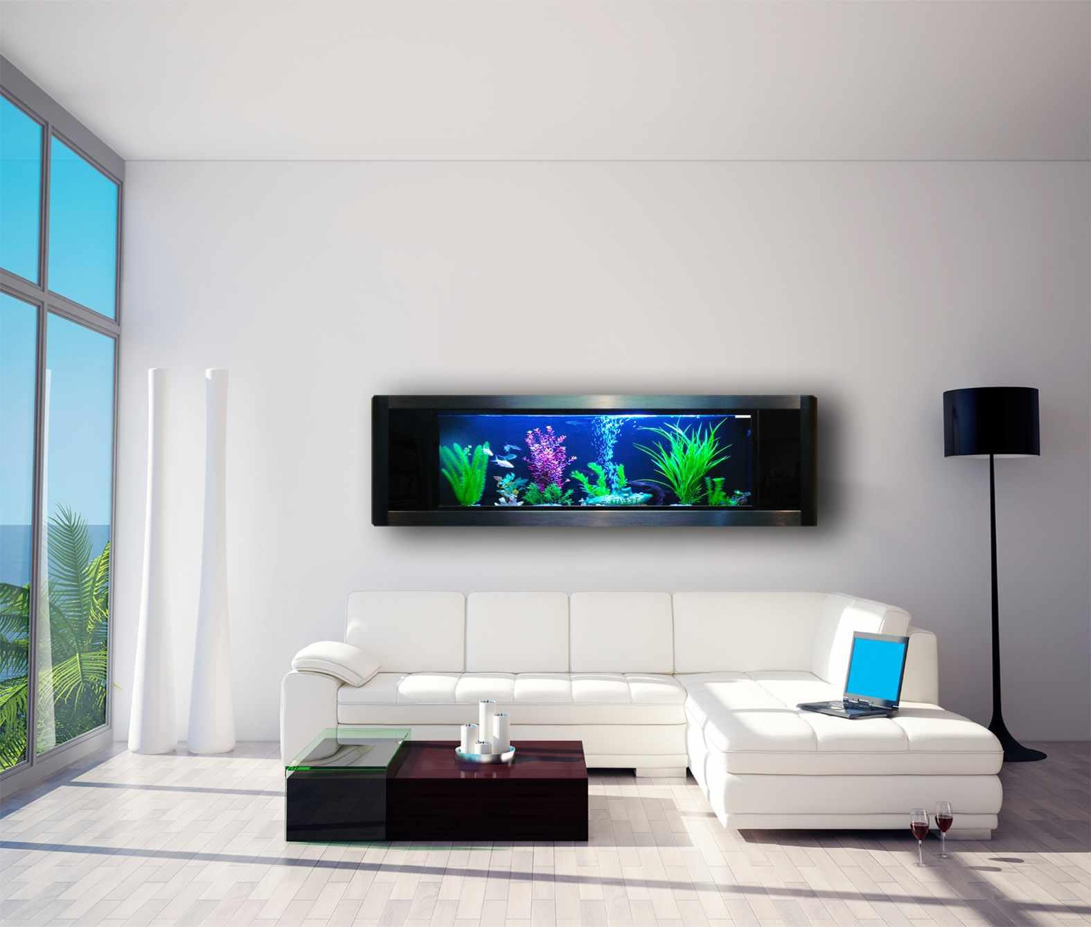 Fish wall mounted aquarium aquarium design ideas for Aquarium mural gifi